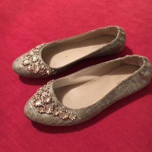 Adrienne Vittadini Linen Jeweled Flats